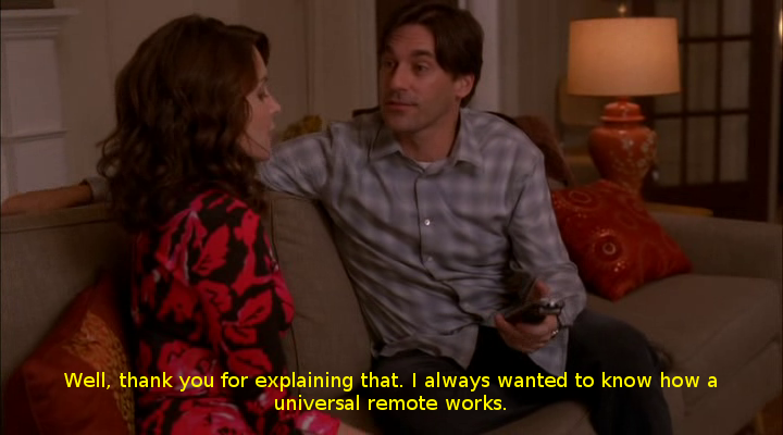 "30 Rock - ""St Valentine's Day"" mention of universal remote controls"