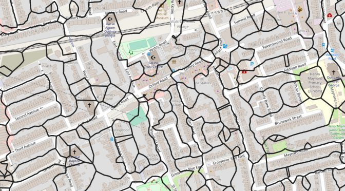An example image showing postcode unit boundaries around Orford Road in Walthamstow